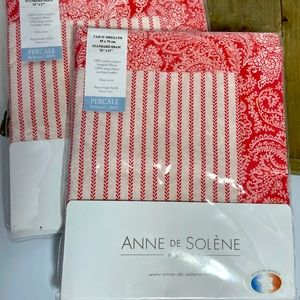 2 NEW Anne De Solene Cotton Standard Pillow Shams